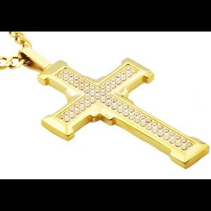 Other - Stainless Steel Gold Plated Iced Out Cross Pendant